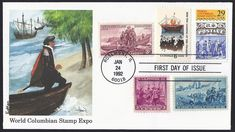 United States First Day Cover Scott 2616 (24 Jan 1992) World Columbian Stamp Expo (landing of Columbus) ...other stamps tied to cover with cancellation: The Mayflower and the landing of the Pilgrims in 1620: United States Scott #1420 (21 Nov 1970). Lewis and Clark Expedition in 1804: United States Scott #1063 (28 Jul 1954). Landing of the first Swedish and Finnish settlers in America in 1638: United States Scott #836 (27 Jun 1936). The landing of Antoine de la Mothe Cadillac at Detroit in… Detroit Skyline, Christopher Columbus, Lewis And Clark, First Day Covers, Pilgrims, Cadillac, Jun, Landing, Stamps