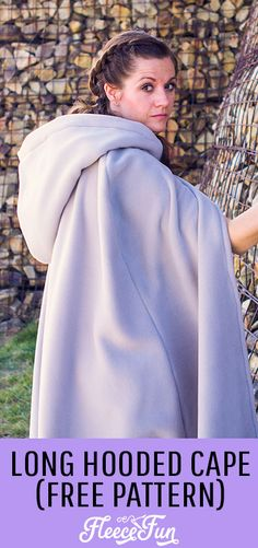 Make this amazing long hooded cape that is perfect for Halloween, Cosplay and warmth! Easy to follow tutorial with written and video instructions. #costumepattern #capesewingpattern #capesewingpatternfree ##capesewing #capecostumepattern #capecostumepatternhalloween #capecostumediy #capcostumeideas Easy Sewing Patterns, Hood Pattern Sewing, Fleece Patterns, Hooded Cloak Pattern, Free Sewing, Sewing Tips, Sewing Ideas, Sewing Projects, Diy Cape