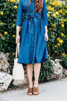 classic denim dress   Little J Style