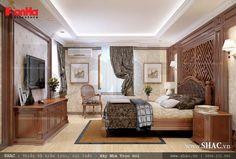 Nội thất phòng ngủ cổ điển sử dụng vật liệu gỗ cao cấp
