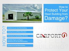 Your steel building will protect your belongings from all threats. But what will protect it? Here are some easy ways to protect metal buildings from damage. Metal Building Insulation, Metal Building Kits, Metal Carports, Metal Garages, Metal Storage Buildings, Steel Buildings, Metal Barn, Metal Roof, Metal Panels