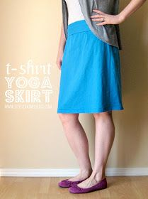 T Shirt Yoga Skirt ~ Tutorial ~ a comfy knit skirt with a yoga waistband. Diy Clothing, Sewing Clothes, Yoga Skirt, Skirt Tutorial, Recycled Fashion, Old T Shirts, T Shirt Diy, Sewing Tutorials, Ideas