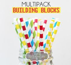BUILDING BLOCKS Paper Straws Multipack fun for LEGO or Superhero party #lego #superhero #Straws