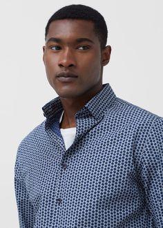Camisa slim-fit estampado geométrico | MANGO MAN