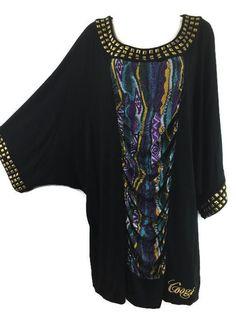 Coogi #WomensPlus Size 2X Top Embellished Beaded Dolman Rayon Stretch Knit Tunic #COOGI #Tunic