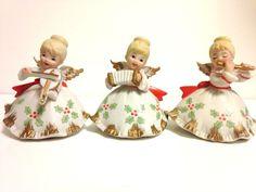 Vintage Lefton Christmas Angel Set / Lot - KW7228 w/stickers
