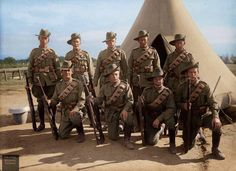 """""""Elsey's"""" group, South Australia, circa Which one is Elsey? in the front row maybe British-born Trooper Albert Elsey enlisted in South Australia, serving in the Reinforcements of the Light Horse Regiment, a unit largely raised from South Australia. Military Art, Military History, World War One, First World, Ww1 Photos, Anzac Day, People Of Interest, Fallen Heroes, Wwi"""