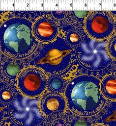 $14.00  per yard   -   Planets Blue - Celestial Collection - In the Beginning - Jason Yenter - Half Yard