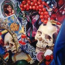 Audrey Flack - Wheel of Fortune (Vanitas), acrylic and oil on canvas, 96 x 96 Camille Claudel, Caravaggio, Dali, Vanitas Paintings, Still Life Artists, Wheel Of Fortune, A Level Art, Gcse Art, High Art