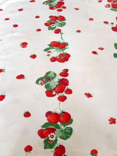 vintage tablecloth strawberries Fifties vintage linens by brixiana, $20.00
