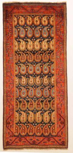 Qashqai Boteh Paisley Rug. Handwoven Wool. Persia (Iran) Circa Late-19th to Early-20th Centuries. 279cm x 124cm.