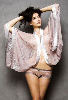 Si Belle ~ A new line of romantic handmade lingerie by Turkish designer Sibel Mesta. The kimono wrap is from The Devonshire collection, made from silk chiffon in a delicate floral print in shades of mauve and grey.