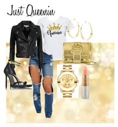 """""""Just Queenin"""" by yeshorra1 on Polyvore featuring Missguided, IRO, Lana, Roberto Cavalli, Versace, Mariah Carey, Movado and queen"""