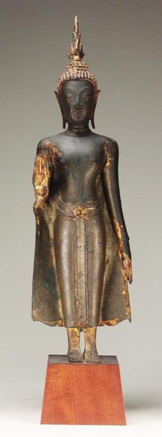 Thai 19th C. Bronze Standing Buddha D5SC2 D5SC (at iGavel Auction)