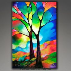 "Abstract tree print, giclee print on stretched canvas from my original painting, stained glass tree, tree of life painting print. This abstract tree giclee print on canvas is made from my beautiful original painting ""Tree of Light"". Acrylic Painting Trees, Painting Abstract, Painting Art, Painting On Glass Windows, Tree Of Life Painting, Textured Painting, Large Painting, Tree Of Life Artwork, Geometric Painting"