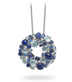 Shangai pendant in 18kt white gold with iolites, blue topazes and diamonds. by Roberto Coin