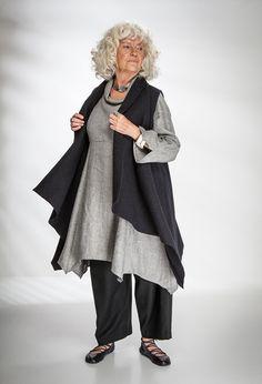 Paris Waistcoat black felted wool £235 over Roll Neck Tunic Kernen linen £265 (Steel Smoke).