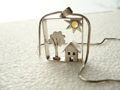 sterling silver miniature jewelry house tree and sun with citrine... sunny home.... by BIZARREjewelry on Etsy, $140.00