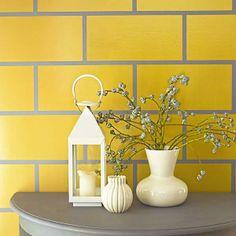 40 New ideas kitchen paint yellow tile Decor, Kitchen Wall Tiles, Faux Tiles, Yellow Kitchen Decor, Trendy Kitchen Tile, Yellow Painted Walls, Yellow Bathrooms, Yellow Bathroom Tiles, Kitchen Paint