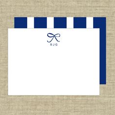 Deluxe Triple Thick - Bow - Thank You Note Cards
