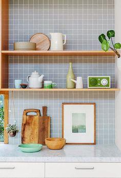 the tile color + wood color