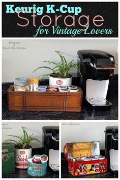 DIY Keurig K Cup Storage Using Vintage Home Decor And Thrift Store Finds. K  Cup