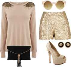 """gold new years eve outfit"" by snsszmr on Polyvore"