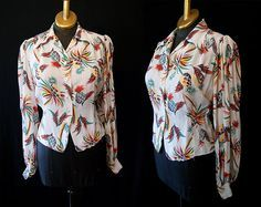 Rockin 1940's rayon Hawaiian novelty print pineapple button front blouse vlv WW2 pin up girl - size Large to Extra Large on Etsy, Sold