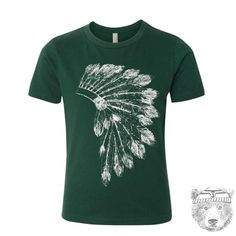 Kids Native American HEADDRESS Premium vintage soft Tee