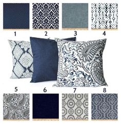Indigo Blue Navy Gray White Pillow Throw by ThatDutchGirlHome