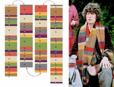 Doctor Who scarf guide for fingerless glove idea