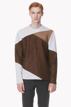 Material mix paneled T shrit