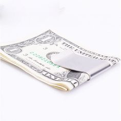 High Quality Stainless Steel Silver Money Clip Double Sided Slim Pocket Cash ID Credit Card Clamp Holder