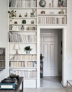 Shelving surrounding doorway