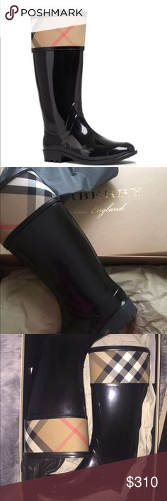Burberry - Crosshill Housecheck Rain Boots BRAND NEW! Never Worn! I bought two pairs of Burberry Rain Boots in November to see which one fits better and I the 10 fits better it's tight in the calves area. I was going to sell the 9 only but the 10 would just catch dust as well. Feel free to ask questions! Burberry Shoes Winter & Rain Boots