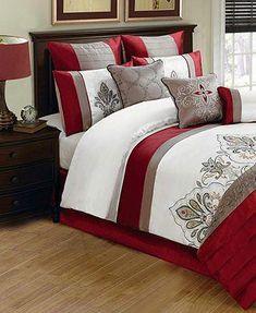 Jacobson 10 Piece Comforter Sets - Sale Bed in a Bag - Bed & Bath - Macy's Bedding Master Bedroom, Bedroom Red, Cozy Bedroom, Bedroom Colors, Bedroom Decor, Red Comforter Sets, King Comforter, Duvet, Bed Cover Design