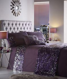 Dazzle Luxury Sequin Sparkle Grey Purple Duvet Cover Bedding Set Double King Sup Purple Duvet, Purple Bedding Sets, Duvet Bedding Sets, Luxury Bedding Sets, Lavender Bedding, King Comforter, Purple Bedroom Decor, Silver Bedroom, Purple Bedrooms