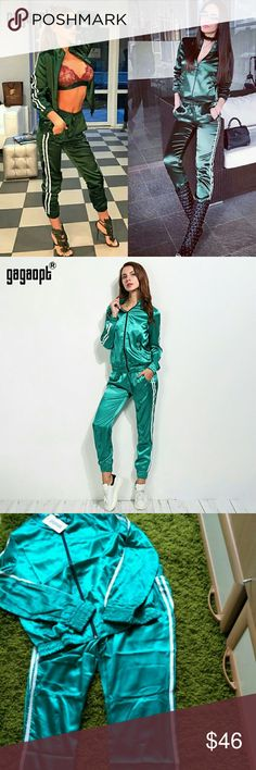 💋Newly arrived!  Emerald sateen-finish. Go hard or go home!  Right, ladies?  And if I catch you sporting this jogger at the gym: your official BBB (Badd, Boss, and Bougie) card will be revoked.  This is strictly for the men to sweat...not you.  Take this track suit glam as it should be.  Pull out the peep toe and lace up booties, some oversized shades and a bright lip... and call it a day.  Your job is done. 📌Two-piece set: jacket and pant. 📌Green available.  Brown and purple upon…