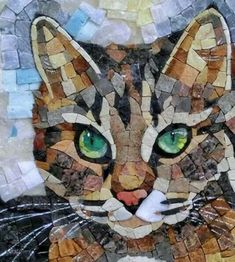 Making a cat mosaic from crockery - Salvabrani Mosaic Crafts, Mosaic Projects, Art Projects, Mosaic Designs, Mosaic Patterns, Stained Glass Art, Mosaic Glass, Mosaic Tiles, Mosaic Bathroom