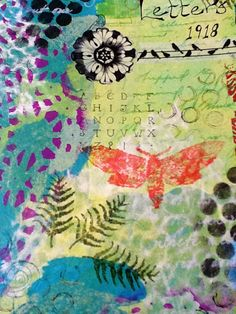 Art journal page - stencilling, acrylic paint, washi tape, rub-ons, collage