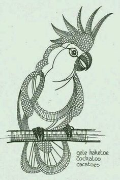 Parrot Coloring page Irish Crochet, Crochet Lace, Bobbin Lacemaking, Bobbin Lace Patterns, Stained Glass Birds, Doodles Zentangles, Needle Lace, Lace Embroidery, Lace Making