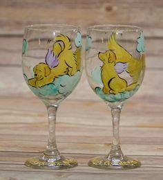 Golden Retriever Hand painted wine glass set of 2 by JennysDogArt, $25.00