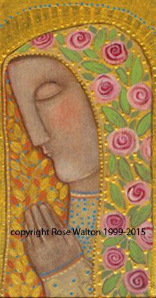 Young Mary, Garden of the Holy Spirit 5x7 giclee print rose walton Jesus Mary Nativity