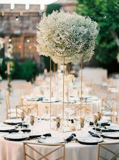A black and gold wedding along the French Riviera never looked so good! Carla and Walker said I Do in a chateau wedding venue, replete with babys breath floral arrangements, Art Deco paper goods and sparkly bridal fashion, and we cannot get enough. See all the magic on Ruffled wedding blog now! #glamwedding #modernbride #bridalupdo #weddingceremonybackdrop Wedding Pl, Floral Wedding, Wedding Flowers, Tall Wedding Centerpieces, Wedding Decorations, Gypsophila Wedding, Wedding Ceremony Backdrop, French Riviera, Bridal Fashion