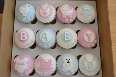baby shower cakes and cupcakes easy Baby Cakes, Baby Shower Cakes, Baby Boy Shower, Baby Shower Biscuits, Pink Cakes, Fondant Cupcakes, Fondant Toppers, Giant Cupcakes, Baby Cupcake