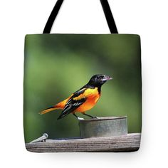 Jelly Tote Bag featuring the photograph Baltimore Oriole With Jelly by Deb Schense