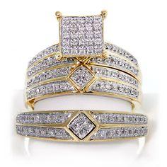 10k Yellow Gold Round Brilliant Cut Diamond Trio Wedding Ring Set043ctw