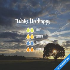 Wake Up Happy - Essential Oil Diffuser Blend Essential Oil Recipies, Essential Oils Guide, Essential Oil Uses, Doterra Essential Oils, Young Living Essential Oils, Design Facebook, Essential Oil Combinations, Aromatherapy Oils, Aromatherapy Recipes