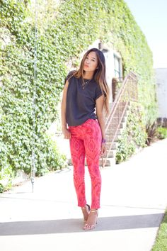 Song of Style: Berry Sorbet Ikat    Wearing bf's shirt and joe's jeans ikat print jeans