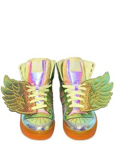 ADIDAS BY JEREMY SCOTT - JS FOIL FAUX LEATHER WING SNEAKERS - LUISAVIAROMA - LUXURY SHOPPING WORLDWIDE SHIPPING - FLORENCE